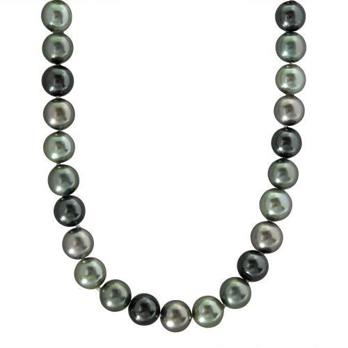 12-12.5mm Shades of Green Shell Pearl Necklace Accented with Stainless Steel Lobster Claw, 18+2