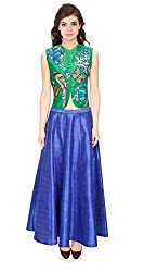 Rozdeal Coral Bird Thread Embroidered Parrot Jacket Kurta With Blue Skirt Semi Stitched Lehenga