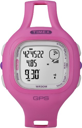 Timex Women's T5K698 Marathon GPS Speed+Distance Pink Resin Strap Watch Running Gps
