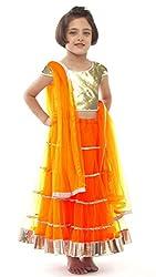 Awesome Fab Orange Colour Soft Net Semi-stitched Laced Lehenga Choli
