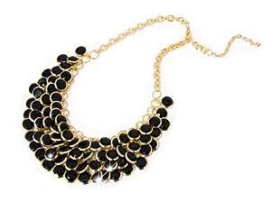 Statement Halskette Kette Perlen Kette XXL Collier schwarz/gold