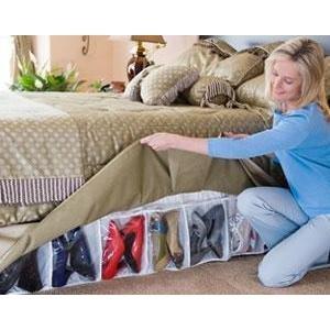 Bed Skirt Shoe Organizer Hidden Storage