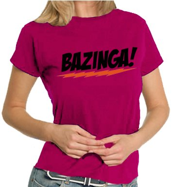 Touchlines The Big Bang Theory - Bazinga Logo LADIES T-Shirt Sorbet, L