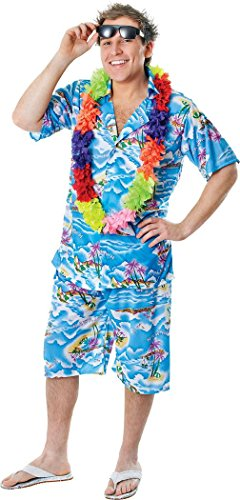 Adult Hula Beach Summer Party Fancy Dress Caribbean Print Hawaiian Man Costume