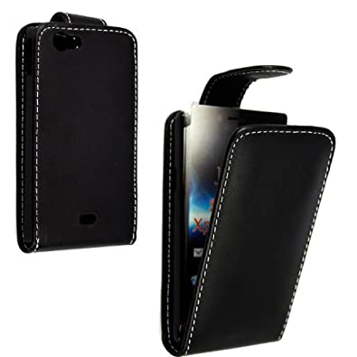 FOR SONY XPERIA MIRO ST23i BLACK COLOUR LEATHER FLIP CASE COVER POUCH