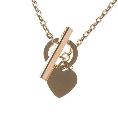 9ct Yellow Gold Hollow Trace Love T-Bar Pendant Necklet of 45cm