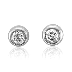 10k White Gold Round Brilliant Cut Diamond Stud Earrings (GH, SI3-I1, 0.05 Carat)