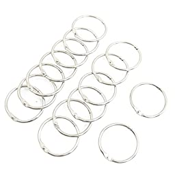 Uxcell 0 Shape Book Files Loose Leaf Ring/Keychain, 15-Pieces, 1.5-Inch Outer Diameter