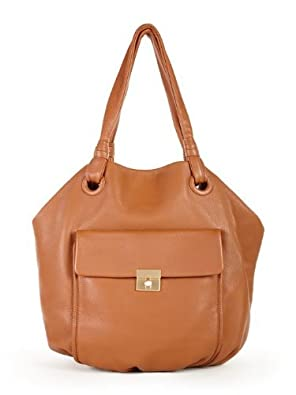 DKNY Caramel Leather Classic Lock Crosby Soulder Bag Tote