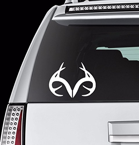 Auto - Sticker - Decal - Deer - Real Tree - Antler - Hunting - Fishing - Removable - (White) (5 inch) - Vinyl Sticker Decal For Car Truck SUV Window Wall Motorcycle Helmet Macbook Laptop (White10) (Real Tree Car Window Decal compare prices)