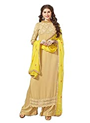 YOUR CHOICE Georgette Green Embroideried Women's Straight Suit FLD1007