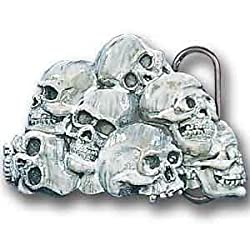 Pewter Belt Buckle - Skull Pile - Pewter Belt Buckle