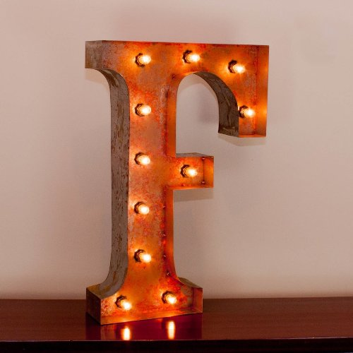 Vintage Marquee Letter F with Lights 24 Inches Tall 0