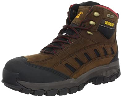 Caterpillar Men's Sensor HI St Waterproof Work Boot,Dark Brown,7 W US