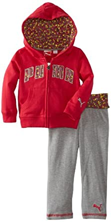 PUMA - Kids Baby-Girls Infant Printed Hearts Set, Barberry, 24 Months