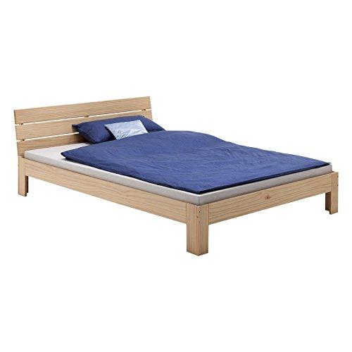Bett Doppelbett Bettgestell mit Kopfteil THOMAS, Kiefer massiv, 140x200 cm, buchefarben
