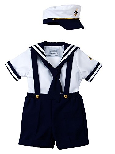 Spring Notion Baby Boys Sailor Set with Hat Style-B Small / 3-6M, Navy Blue (Pictures Of Spring compare prices)