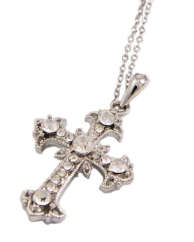 Rhodiumized Clear Rhinestone Cross Pendant Necklace