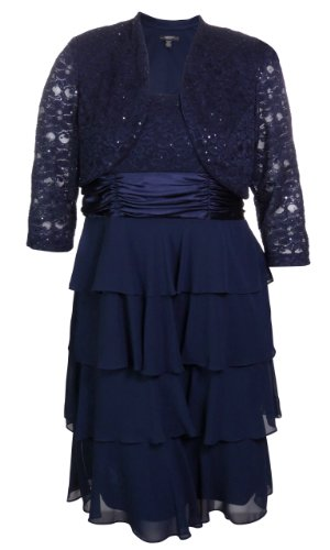 R&M Richards Women's Tiered Chiffon & Lace Jacket Dress Set (14W, Navy)