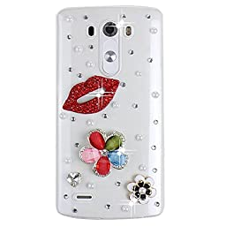 LG Risio Bling Case - Fairy Art Luxury 3D Sparkle Series Hot Sexy Lips Flowers Crystal Design Back Cover with Soft Wallet Purse Red Cloth Pouch - Red