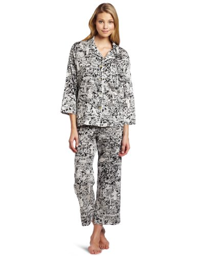 Natori Women's Halong Notch Pyjama, Black, X-Large