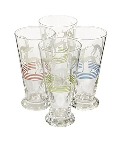 2 B Modern 1960s Set of 4 Gazelle Glass Tumblers, Multi