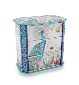 Sparkling Peacock Flower Garden 3-Drawer Jewelry Box front-996267