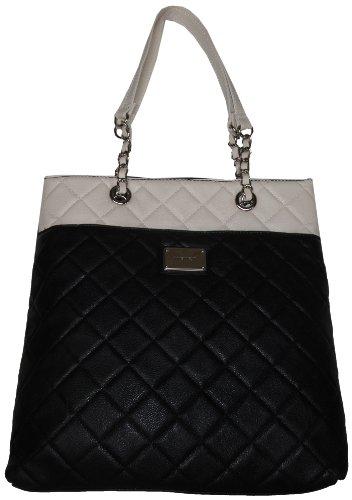 Nine West Women'S Large Quilted Color Block Tote, Handbag, Black/White