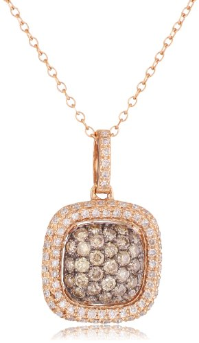 "Kc Designs ""Tres Chic"" 14K Rose Gold Square Shape Champagne And White Diamond Pendant Necklace Chain, 16"""