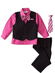 Spring Notion Baby Boys\' 5 Piece Pinstriped Vest Set Fuchsia Size 4T