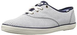 Keds Women\'s Champion Chambray Stripe Fashion Sneaker, Navy, 10 M US