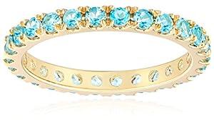 14k Yellow Gold Round Swiss Blue Topaz Eternity Ring, Size 8