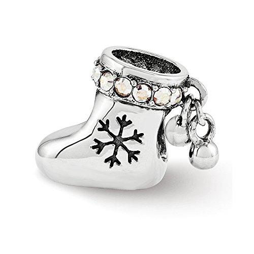 Swarovski Elements Christmas Stocking Charm in Sterling Silver