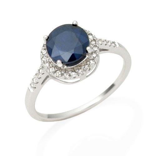 Sapphire Ring, 9ct White Gold, Diamond Setting,