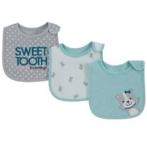 "Carter's Bib Set of 3 Girl Bibs ""SWEET TOOTH incoming!"" dots puppy dog - 1"
