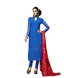 Amyra Women's Chiffon Dress Material (AC796-11, Blue)
