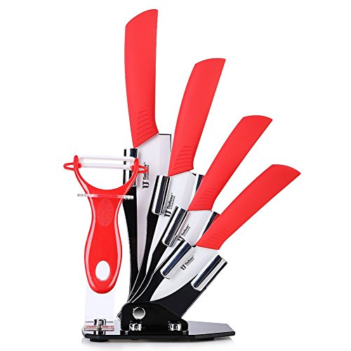 """W.H.M.S Sharp and Durable Kitchen Ceramic Knife Set 3"""" 4"""" 5"""" 6"""" inch Zirconia White Blade, Paring, Fruit ,Vege,Meat, Cooking"""