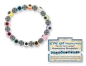 Evil Eye of Protection Hematite Stretch Bracelet (Sold Individually)