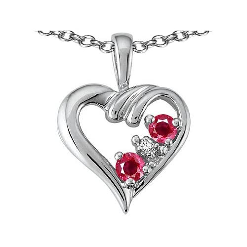 Genuine Ruby and Diamond Heart Pendant in 10K White Gold