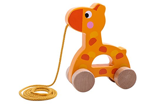 Pull Toys For Girls : Wooden pull along toy set of beautiful giraffe