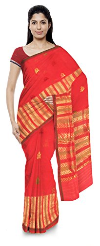 Akram Sarees Women's Kota Doria Handloom Cotton Silk Saree With Blouse Piece (Red)