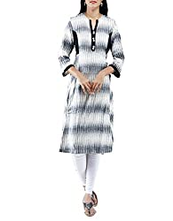 Unnati Silks Women Pracheen kala White and Black Pochampally cotton bagru printed kurta