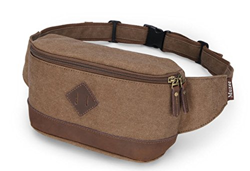 """Muzee """"Route 7"""" Men'S Canvas Waist Fanny Pack - Coffee Brown"""