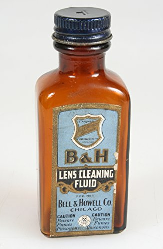 BELL & HOWELL LENS CLEANING FLUID VINTAGE BOTTLE CINE PHOTOGRAPHY COLLECTIBLE