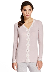 Pointelle Floral Lace Thermal Cardigan