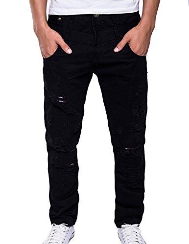 LIANIHK Pantalone Uomo Jeans Denim Cotone Strappato Stonewashed