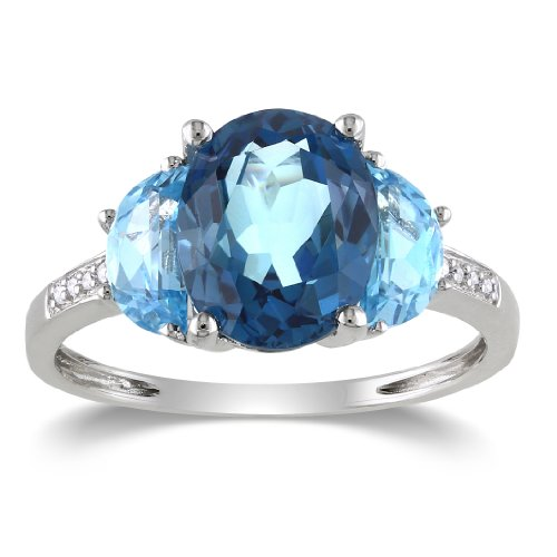 Sterling Silver, Diamond, Sky Blue Topaz and London Blue Topaz Ring, (.024 cttw, GH Color, I2-I3 Clarity), Size 8