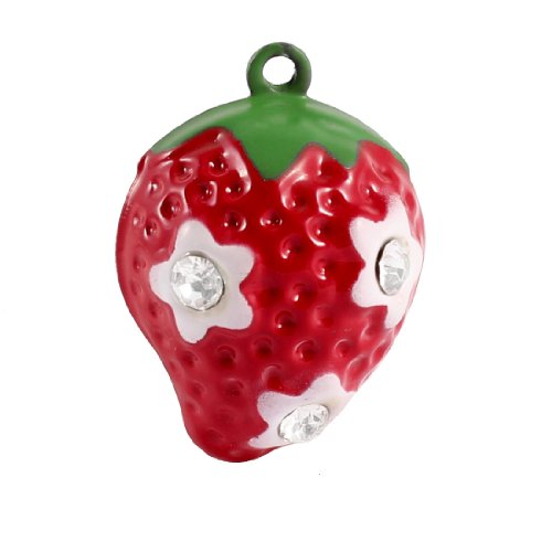 Rhinestone Inlaid Metal Strawberry Decorative Bell for Dog Cat Pet