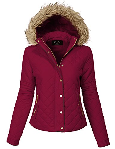 Comfortable Fur Trim Hood Quilted Padding Jackets 140-burgundy Medium