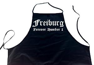 Freiburg - Forever Number 1; Städte Schürze (Latzschürze - Grillen, Kochen, Berufsbekleidung, Kochschürze), schwarz